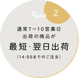 通常7〜10営業日出荷の商品が最短・翌日出荷(14:00までのご注文)