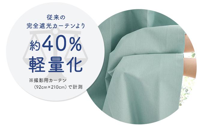 従来の完全遮光カーテンより約40%軽量化!