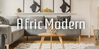 アフリックモダン。プリミティブでスタイリッシュなエスニックインテリアに合うアフリカンテイストの柄とラスティックな素材を取り入れた、おしゃれなくつろぎ空間。