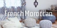 フレンチモロッカン。注目のモロッコテイストのおしゃれなカーテンはオフホワイトを基調にしたシャビーシックインテリアにもピッタリ。プフやクッションでくつろぐエスニックインテリア。