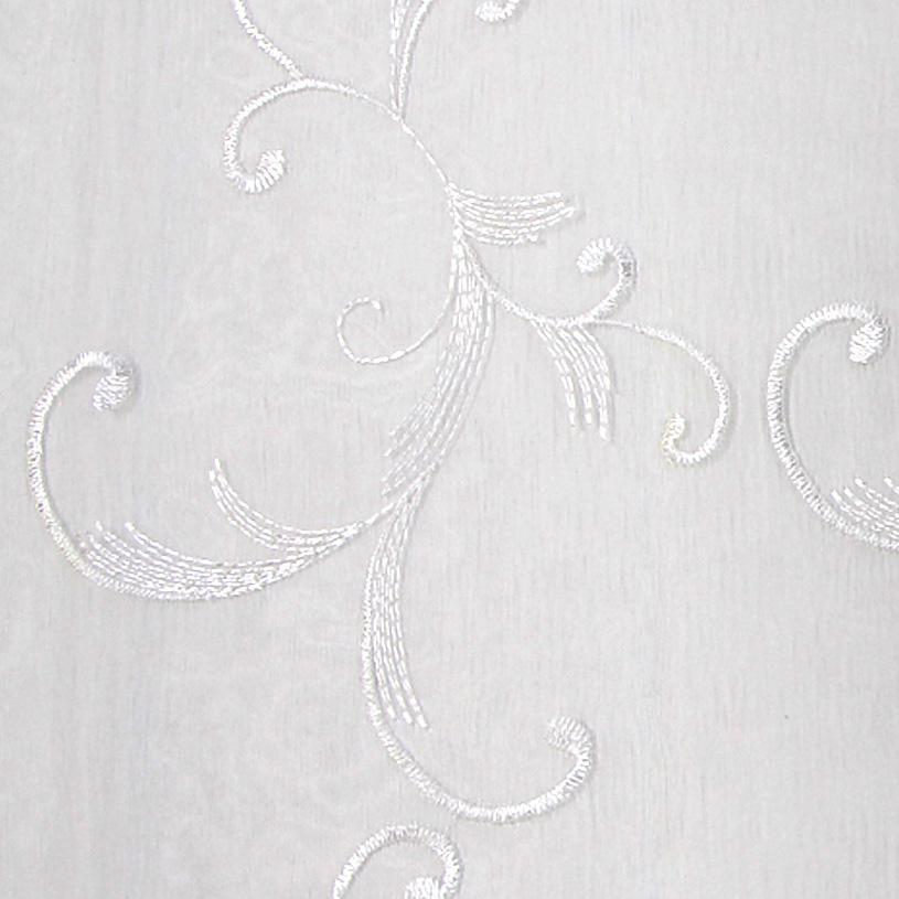 レースカーテン 白(ホワイト) エンブロイダリーレース フィオナ