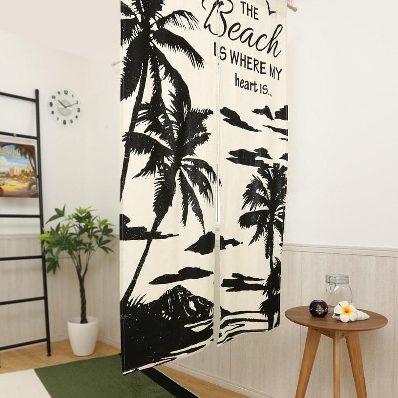 マハナ ハワイアンズ 布のれん 〜シルエットビーチ〜ホワイト