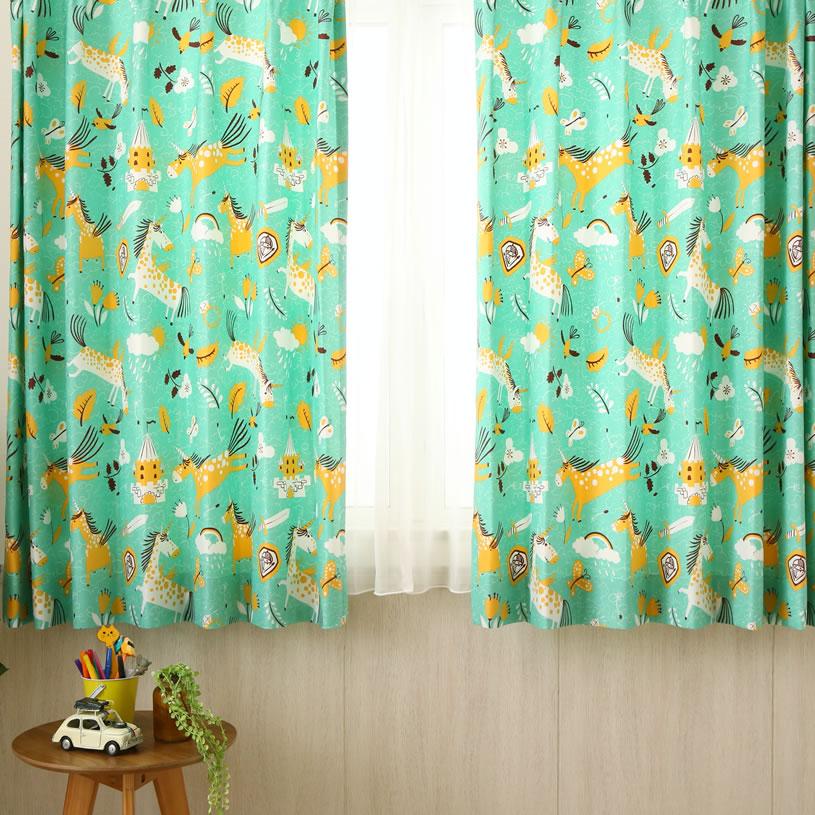 カーテン オーダーカーテン 緑(グリーン) ユニコーン