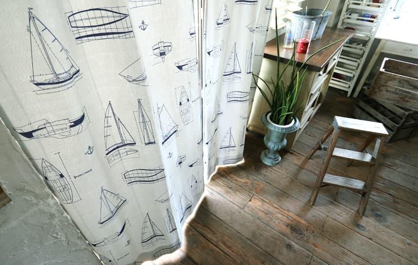 メンズカーテン マリン 〜セイルボート〜 ホワイト