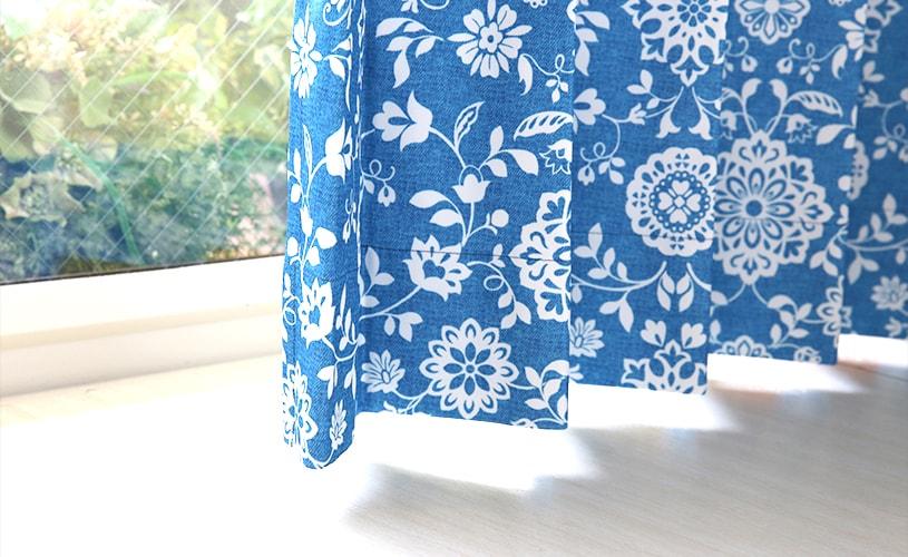 掠れた風合いの生地感はデニムのような雰囲気トレンドカラーカーテン ~ローセル~ ブルー~