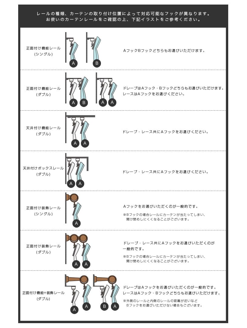 レールの種類、カーテンの取り付け位置によって対応可能なフックが異なります。