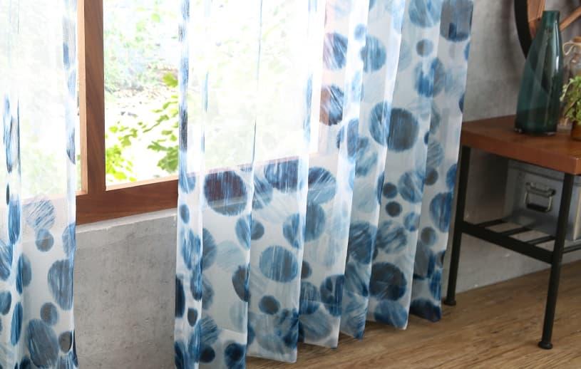 デニム・コレクション レースカーテン 〜ブルー〜 マニッシュドット
