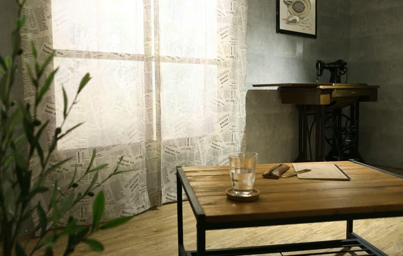 メンズカーテン アメリカンビンテージ レースカーテン 〜リブロ〜 ベージュ