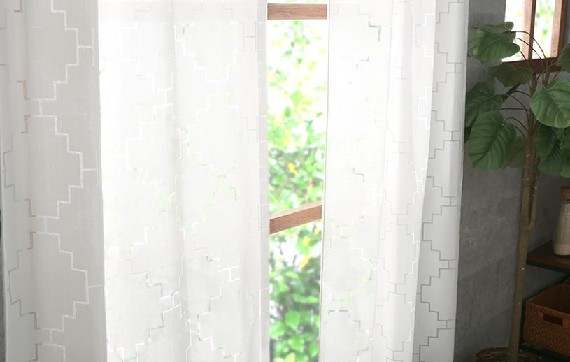 メンズカーテン ネイティブ レースカーテン 〜フィーアエック〜 ホワイト