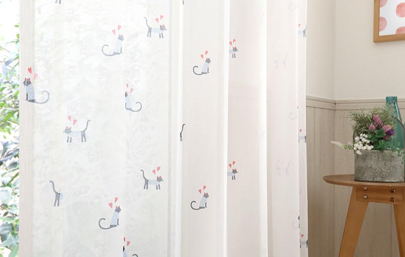 キッズ レースカーテン 〜ミネット ボイル〜 ホワイト